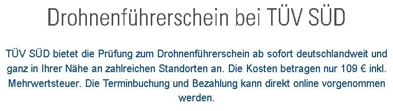 Drohnenführerschein bei TÜV SÜD zum Spotpreis? (Foto: TÜV SÜD)