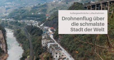 Drohnenflug über die schmalste Stadt der Welt