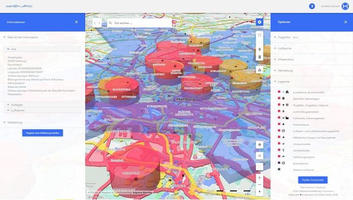 Mit Map2Fly Pro lassen sich Lufträume zeichnen, Flugrouten planen und Markierungen anlegen. Validiert lässt sich daraus ein Flugplan erstellen, der die Parameter des Aufstieges und eine Checkliste abbildet. (Bild: FlyNex)