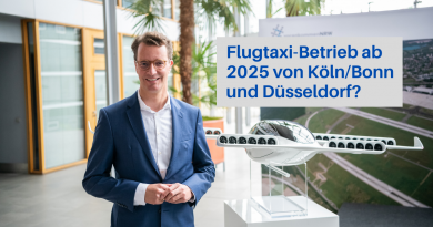 NRW-Verkehrsminister Wüst vor dem Flugtaxi Modell von Lilium
